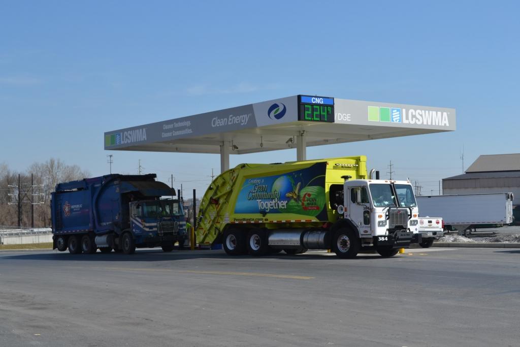 CNG hauling trucks feuling