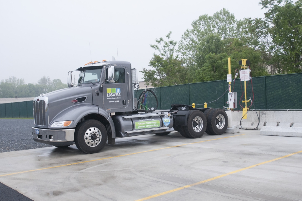 CNG truck fueling up