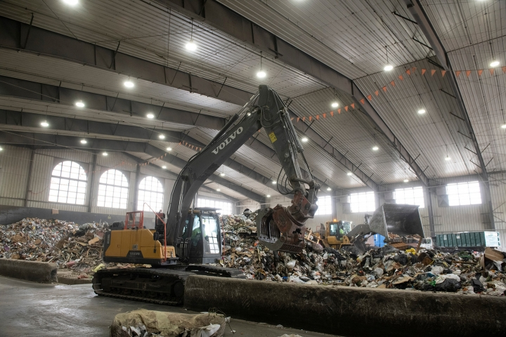The interior of the Transfer Station Complex with piles of trash