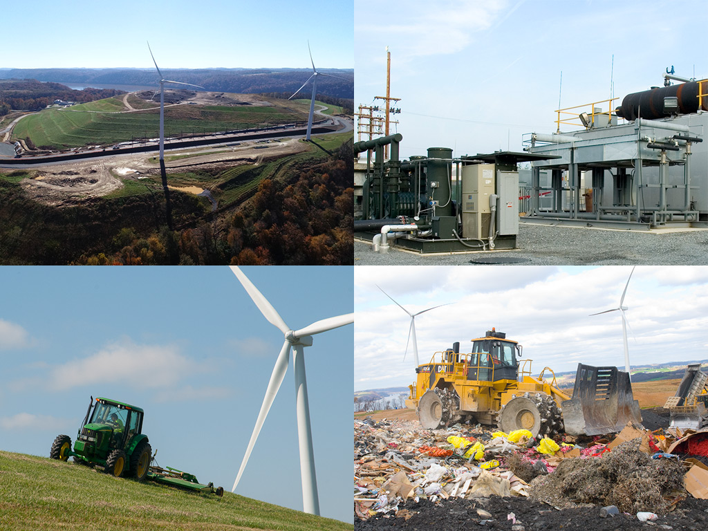 A collage of images featuring an aerial view of the Frey Farm Landfill, natural gas machinery on the Frey Farm Landfill, a tractor working on the grass at the landfill, and a bulldozer moving waste at the landfill