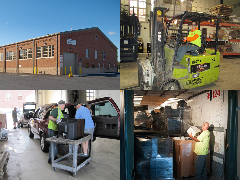 A collage of images featuring a three quarter angle view of the Household Hazardous Waste facility, a worker driving a forklift, a person unloading a TV , and an image of various materials that have been dropped off