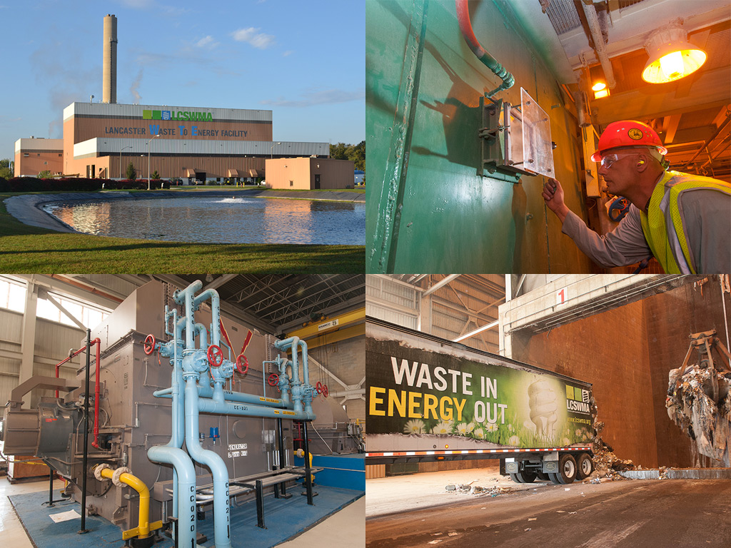 A collage of images featuring an exterior view of the Waste to Energy Facility, a worker adjusting a control panel, pipes and machinery inside the facility, and a Waste to Energy branded truck delivering a load inside the Waste to Energy Facility
