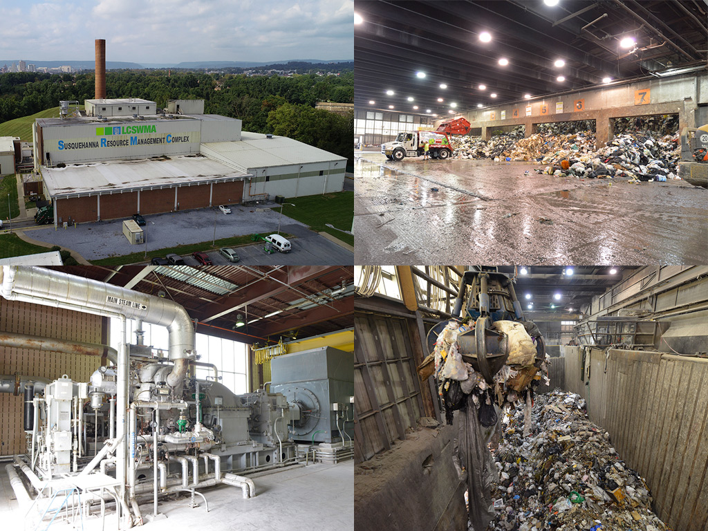 A collage of images featuring an aerial view of the Susquehanna Resource Management Complex, a truck bringing waste to the tipping floor, the generator inside the complex, and an overhead view of the pit