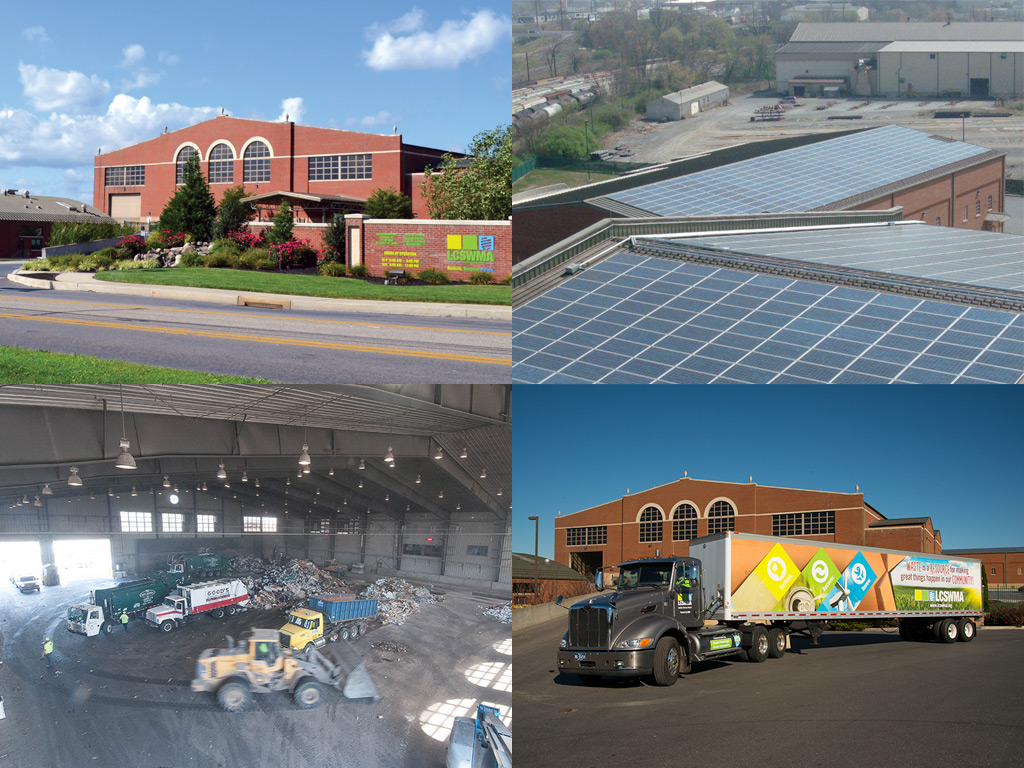 A collage of images featuring an exterior view of the Transfer Station Complex, solar panels on the roof of the Transfer Station Complex, various pieces of machinery at work inside the Transfer Station, and a LCSWMA branded truck outside the Transfer Station Complex