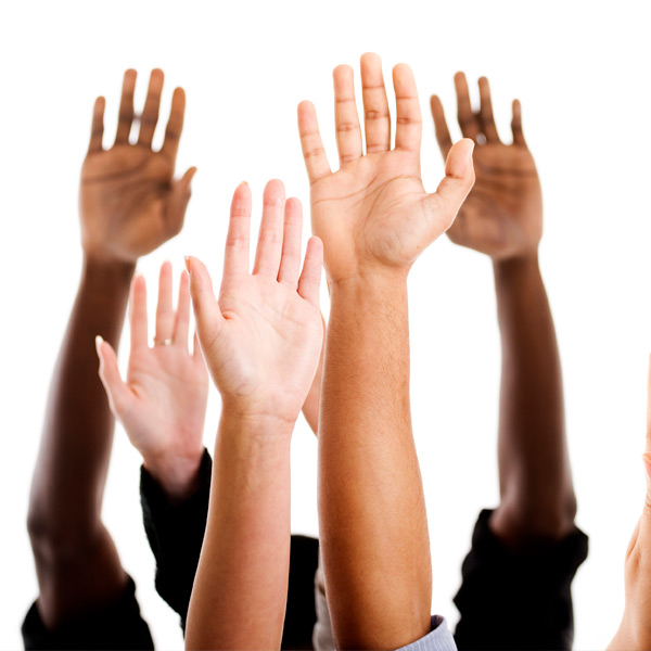 Hands raised to ask questions