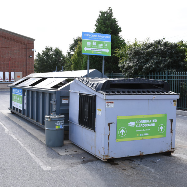 Outdoor recycling drop-off area