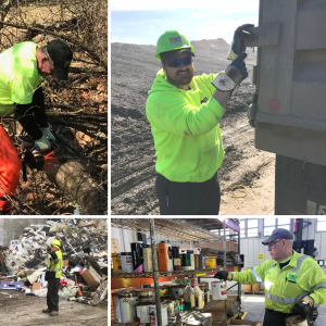 Collage of LCSWMA employees wearing personal protective equipment.