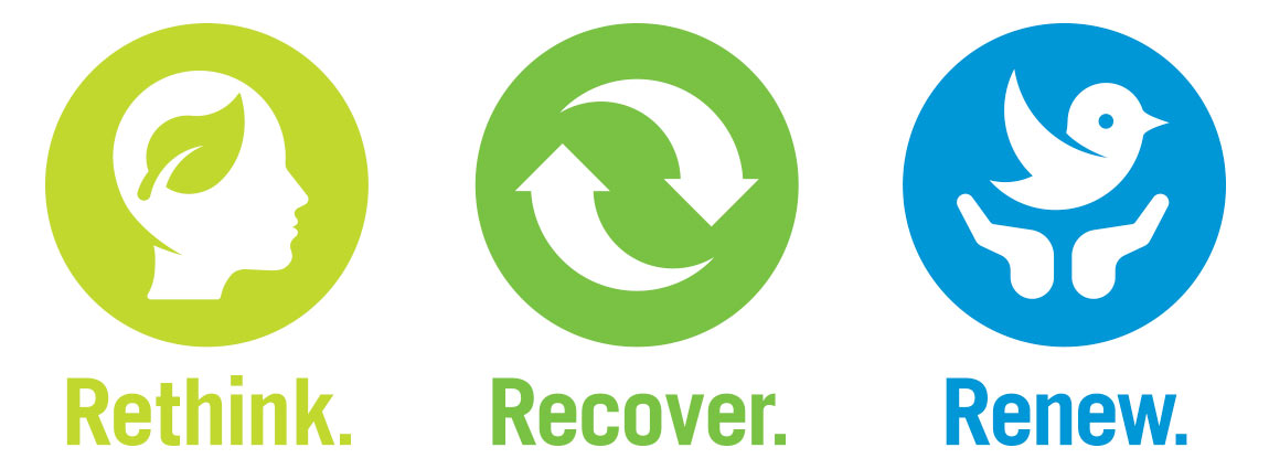"""A graphic with icons and the words """"Rethink. Recover. Renew."""""""
