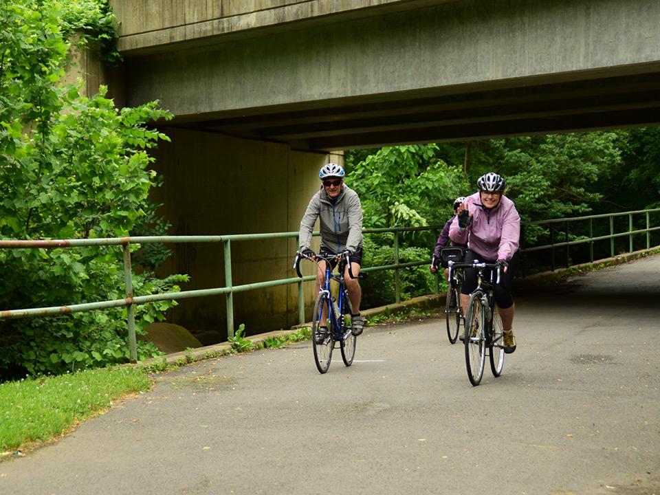 A couple riding their bikes on a trail